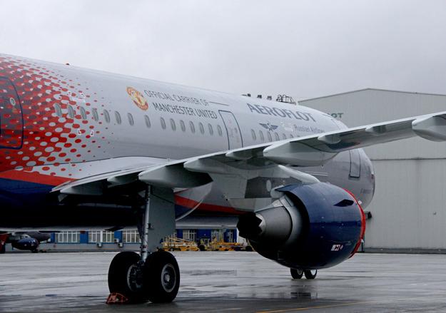 Самолет аэрофлота в ливрее манчестер юнайтед
